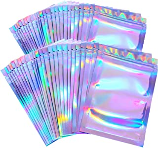 100 Pieces Resealable Smell Proof Bags Foil Pouch Bag Flat Ziplock Bag for Party Favor Food Storage (Holographic Color, 3 ...