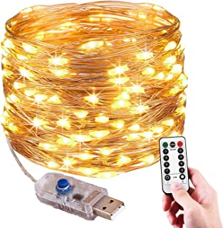 Ariceleo USB Powered Fairy Lights, 100 Led 33 ft. USB Plug in Copper Wire Twinkle String Lights with Timer Remote Control for Bedroom Christmas Decoration Wedding Party Firefly Lights (Warm White)