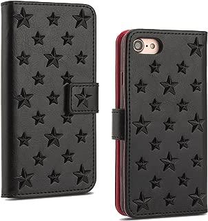 【ANNNGROUP】iPhone 8 ケース / iPhone 7 ケース 手帳型アイフォン 8 カバー 耐衝撃 高品質PU+TPU 携帯カバー アイフォン 7 カード収納 人気 おしゃれ アイフォン 8 手帳型ケース全4色可選-タッチペン付 (ブラック)