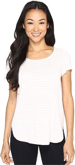 Heather Yarn Dye Stripe Short Sleeve Tee w/ Back Contrast