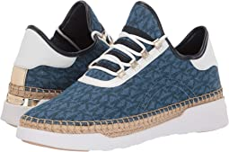 Light Denim/MK Sig Printed Denim Semi/Vachetta/Metallic Nappa