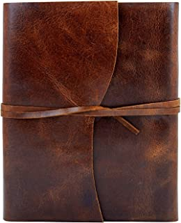 Back To School Leather Journal Diary Writing Notebook Personal Travel Diary Unlined Paper Sketchbook Doodle Art Book Recipe Book Organizer 8 x 6 Inches Anniversary Gifts For Him & Her