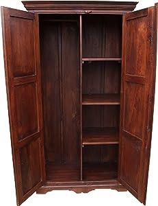 Guru-Shop Kleiderschrank im Kolonialstil & Kleiderstange 1, Braun, Holz, 185x100x52 cm, Schränke & Kleiderschränke