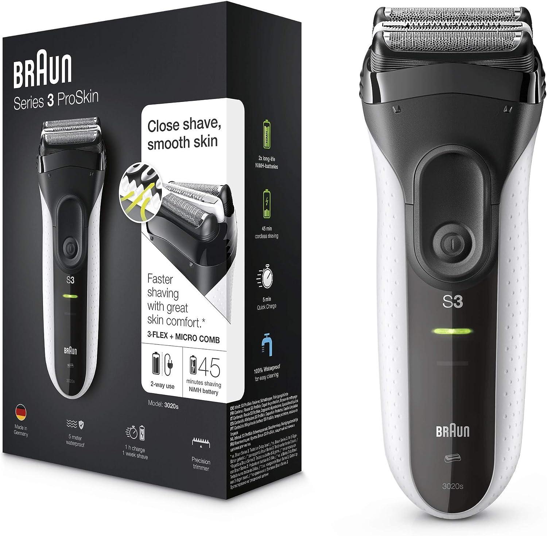 Braun Series 3 ProSkin 3020s Afeitadora Eléctrica Inalámbrica Y Recargable, Máquina de Afeitar para Hombre, Negro/Blanco