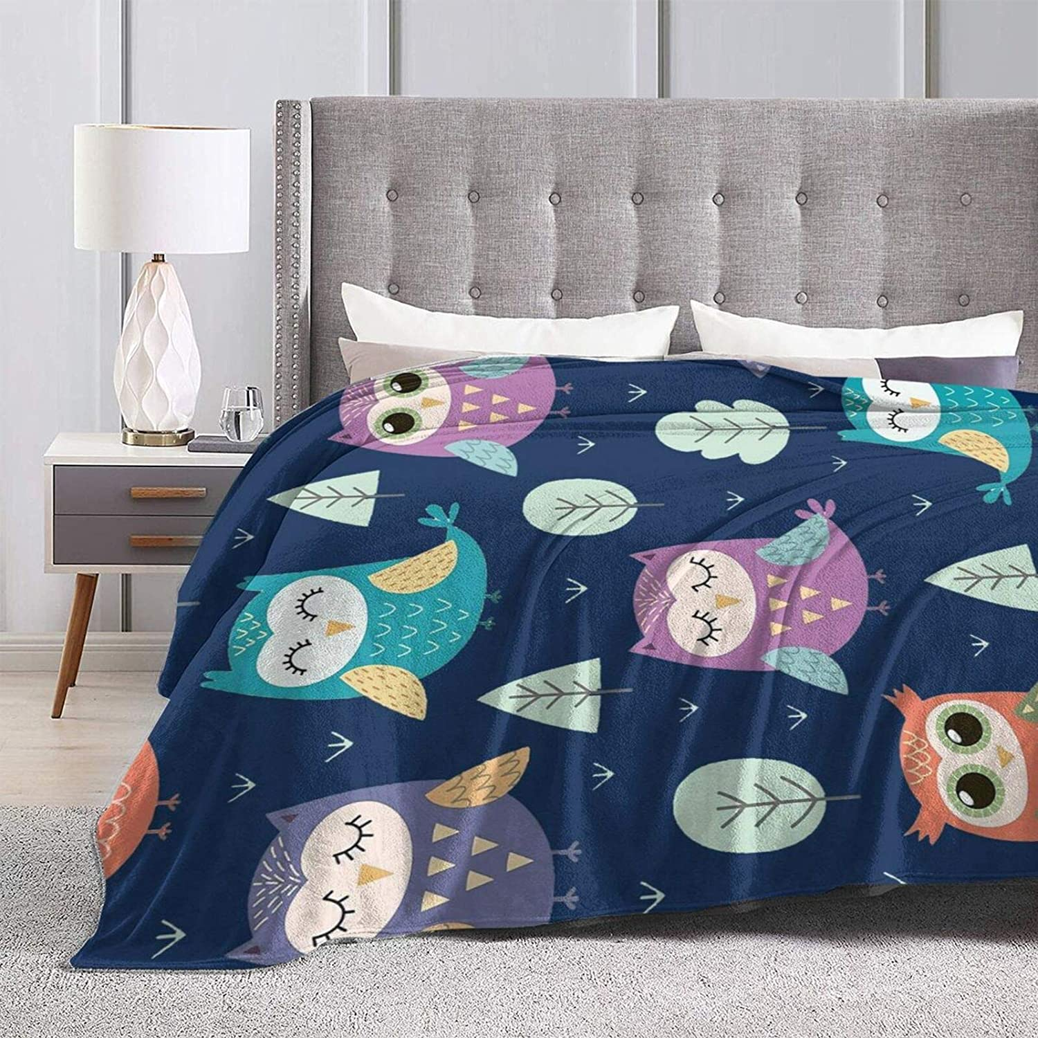 Lightweight Soft /& Fuzzy Flannel Plush Kids Decorative Throw Blankets for Couch Bed Sofa Travel 50X40 Colla Cute Owls Throw Blankets for Boys Girls Gift