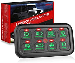 8 Gang Switch Panel, OFFROADTOWN 8 Gang SwitchBox Slim Touch Control Panel Box with Label Stickers and Harness for Car Marine Boat ATV UTV Truck Jeep