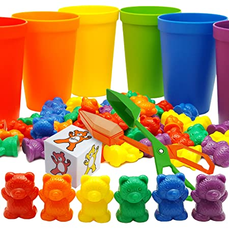 Skoolzy Rainbow Counting Bears with Matching Sorting Cups, Bear Counters and Dice Math Toddler Games 71pc Set - Bonus Scoop Tongs, Storage Bags