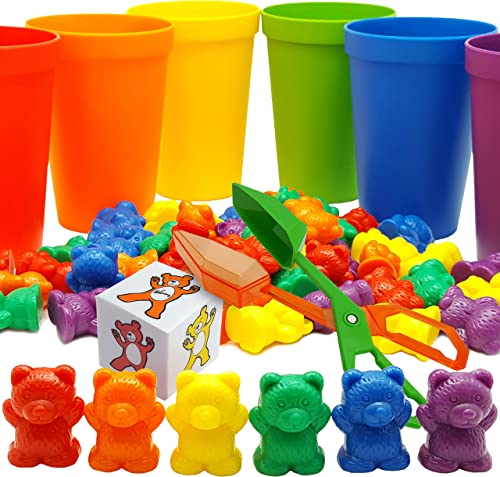 Skoolzy Rainbow Counting Bears with Matching Sorting Cups, Bear Counters and Dice Math Toddler Games 71pc Set - Bonus...