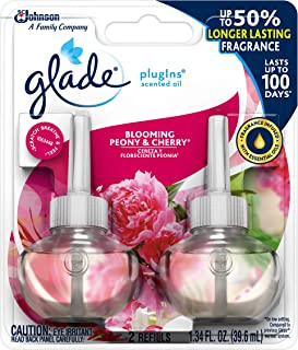 Glade PlugIns Scented Oil Refill Blooming Peony & Cherry, Essential Oil Infused Wall Plug In, 1.34 oz, Pack of 2