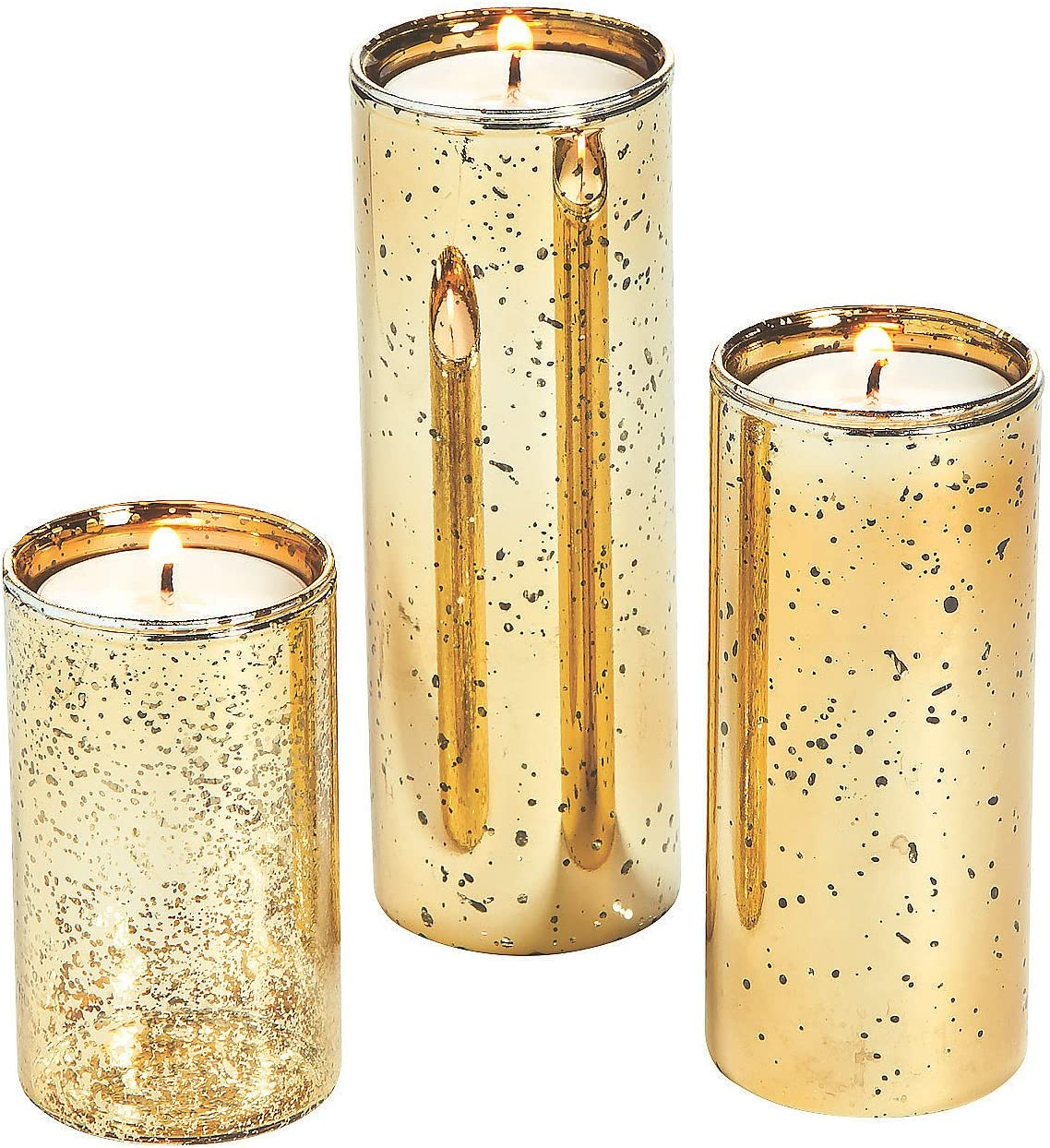 Gold Flecked Mercury Outlet ☆ Free Shipping Cylinder Glass Tea Candle - 3 free Holders Light