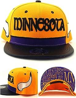 King's Choice Minnesota New Leader Horned Gold Black Purple Era Snapback Hat Cap