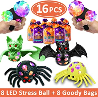 16 Pack Halloween Toy Mesh Grape Ball Squishy Stress Balls Kids/Adults - Light Up Sensory Toy Stress Relief Squeezing Balls - Squeezy Water Beads - Halloween Spider Bats Glow Party Favors Supplies