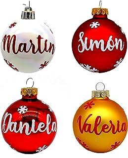 Bolas de Navidad de cristal personalizadas para árbol. Adornos navideños originales.