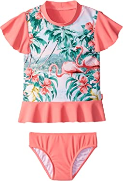 Seafolly Kids Hawaiian Rose Rashie Set (Infant/Toddler/Little Kids)