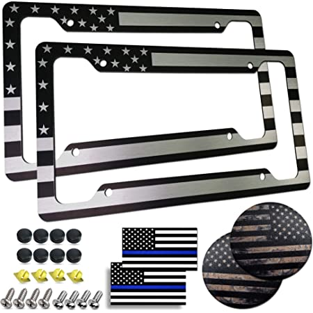 KEQU American Baseball Flag Black White License Plate Cover Personalizd Aluminum Front Car Tag with 4 Holes 6x12 Inches
