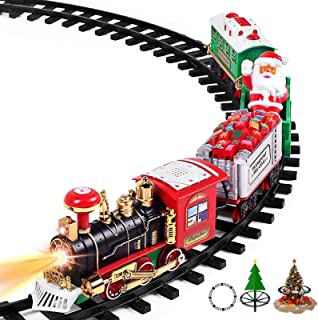 """AOKESI Toy Train Set with Lights & Sounds - Updated Christmas Train Set - 30"""" Round Railway Tracks for Under/Around The Ch..."""