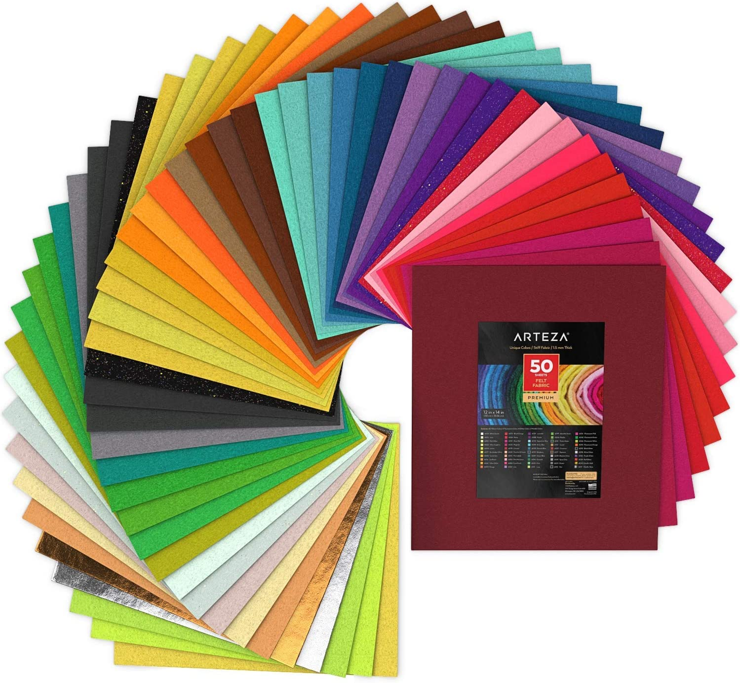 Arteza Felt Fabric Sheets Set of 50 x Colors Sales for 35% OFF sale Inches Ass 12 14