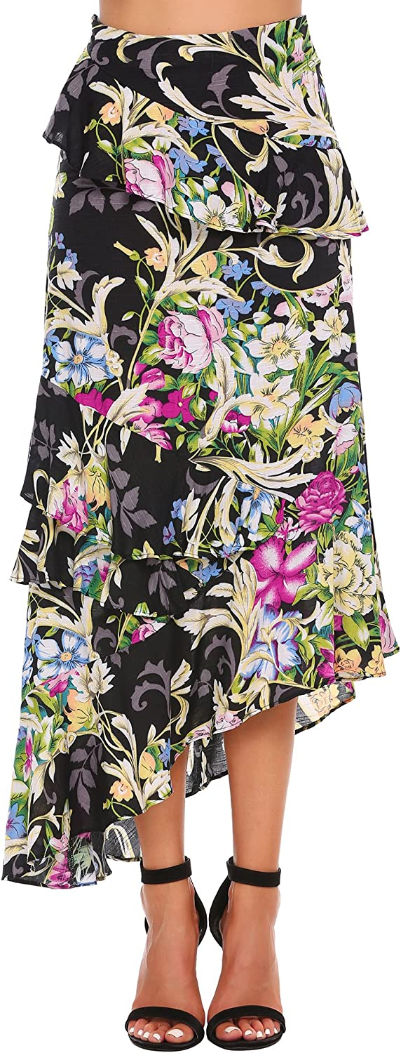Zeagoo Women's Bohemian Floral Print Wrap Skirt Summer Long Maxi Skirt