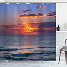 Ambesonne Ocean Decor Collection, Sunset before Dusk at Cloudy Nature and Calm Sea with Small Waves Picture, Polyester Fabric Bathroom Shower Curtain Set with Hooks, 75 Inches Long, Dark Orange Blue