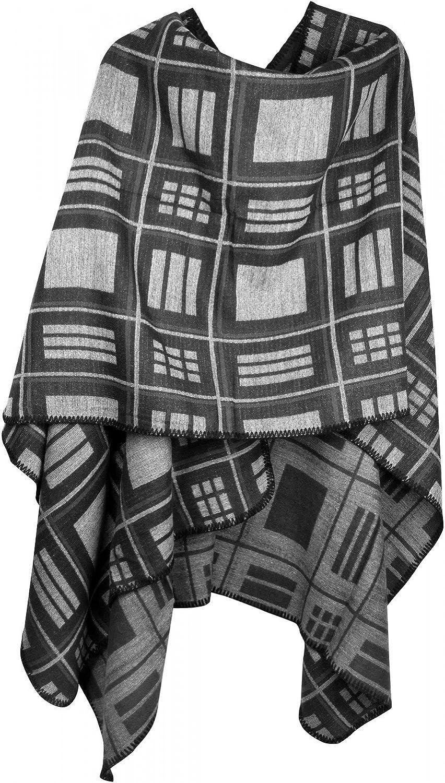styleBREAKER Poncho mit quadratischem Rechteck Karo Muster, Umhang, Überwurf Cape, Wendeponcho, Damen 08010015 - Schwarz-hellgrau