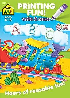 School Zone - Printing Fun! Write & Reuse Workbook - Ages 4 to 6, Preschool to Kindergarten, Tracing Letters, Pre-Writing,...