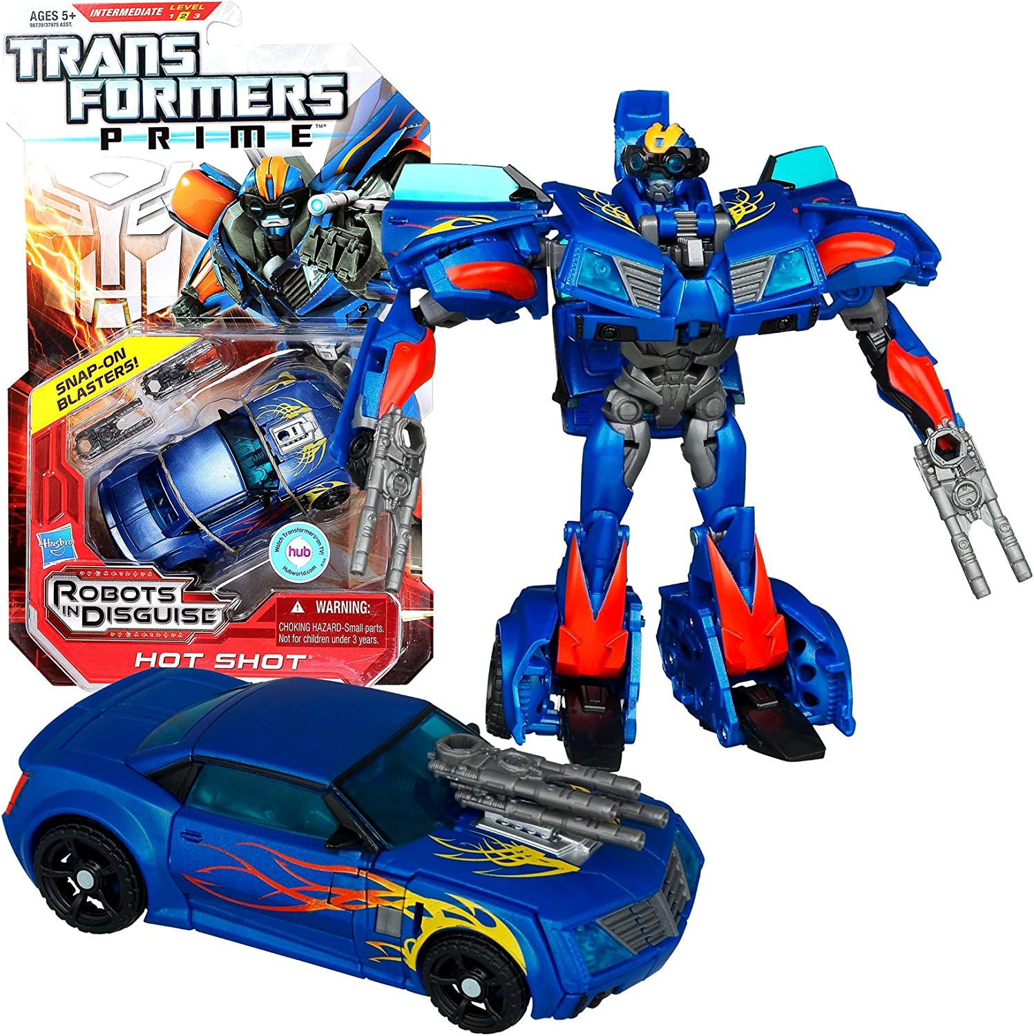 Hasbro Year 2011 Transformers Robots in Disguise Prime Series 1 Deluxe Class 6 Inch Tall Robot Action Figure  9  Autobot HOT SHOT with 2 SnapOn Blasters (Vehicle Mode  Sports Car) by Transformers