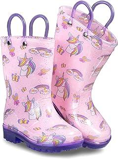 أحذية المطر للأطفال الصغار المضيئة من زوجز للبنات والأولاد بمقابض