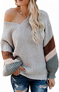 Vansha Womens Oversized Knit Pullover Sweaters Fall Loose V-Neck Striped Long Sleeve Chunky Tops