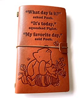 Inspirational Winnie The Pooh Quotes Leather Journal Notebook for Men Women - Vintage Friendship Travel Journal - Embossed Writing Journal - Best Friend Gift for Graduation Birthday Christmas