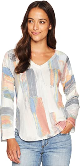 V-Neck Long Sleeve Brush Stroke Print Top