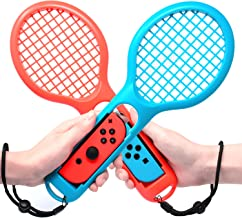 Tennis Racket for Nintendo Switch Joy-con Controllers, Twin Pack Tennis Racket for Mario Tennis Aces Game, Nintendo Switch Accessories (Blue and Red)