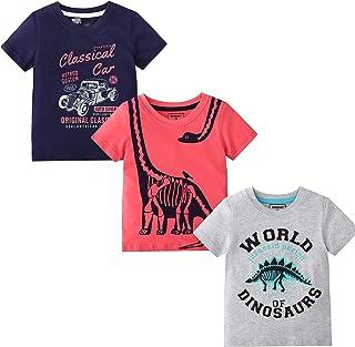 MSSMART قميص صيفي للأولاد الصغار ملابس قصيرة الأكمام للأطفال قطن توب ديناصور 3 حزم حجم 5T