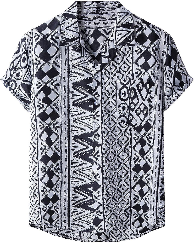Mens Casual Button Down Hawaiian Shirts Short Sleeve Beach Shirt Aloha Floral Blouse Summer Regular Fit T-Shirt