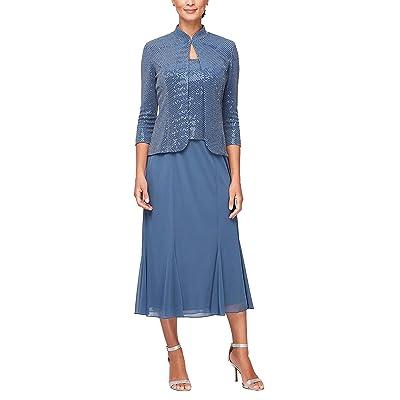 Alex Evenings Tea Length Mock Dress With Sequin Jacket (Petite and Regular Sizes)