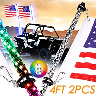 Nirider 2PCS 4ft LED Whip Lights with Flag Pole Remote Control Spiral RGB Chase Light Offroad Warning Lighted Antenna LED Whips for UTV, ATV, Off Road, Truck, Sand, Buggy Dune, RZR, Can-am, Boat