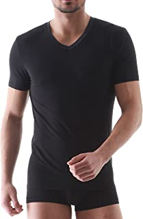 DAVID ARCHY Men's 3 Pack Micro Modal & Bamboo Rayon & Supima Cotton Underwear Soft Comfy V-Neck and Deep V-Neck Undershirts
