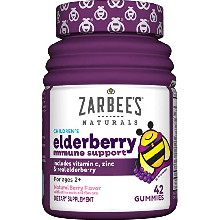 Zarbee's Naturals Children's Elderberry Immune Support with Vitamin C & Zinc, Natural Berry Flavor, 42 Gummies