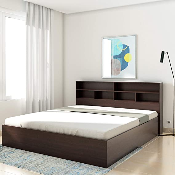 Amazon Brand   Solimo Canes Engineered Wood King Bed with Box Storage  Wenge finish  Beds