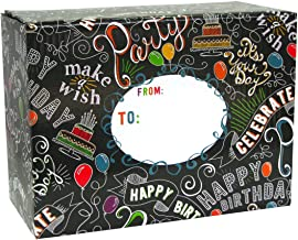 Jillson Roberts 6-Count Decorative Gift and Mailing Boxes Available in 4 Designs and 3 Sizes, Medium Birthday Chalk
