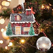 Binen Christmas Hanging Ornament Village Story House Lit House - Christmas LED Light Up Corrugated Cardboard House - Xmas ...