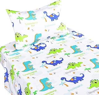 Scientific Sleep Dinosaur Cotton Cozy Twin Bed Sheet Set, Flat Sheet & Fitted Sheet & Pillowcase Natural Bedding Set (15, Twin)