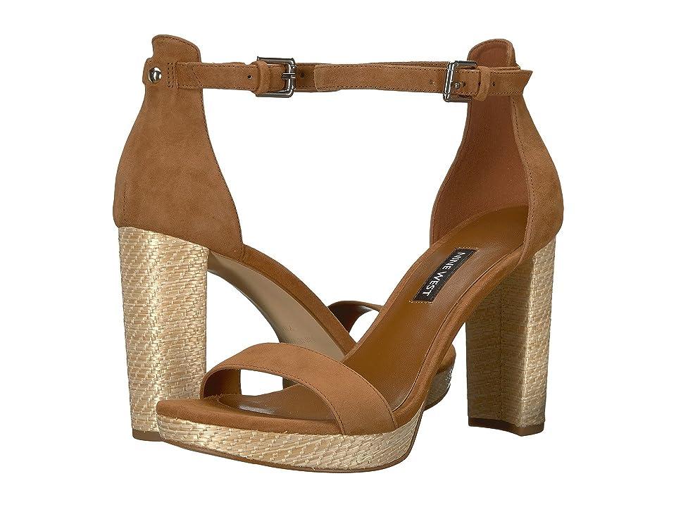 Nine West Dempsey Platform Heel Sandal (Dark Natural Suede) Women