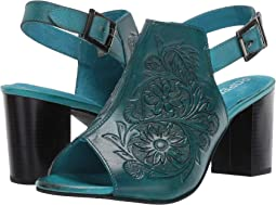 Burnished Turquoise Hand Tooled Leather