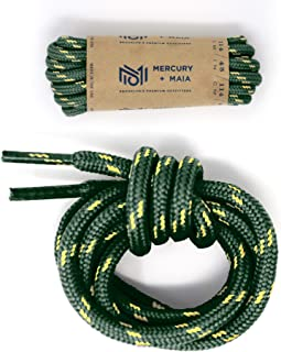 Honey Badger Work Boot Laces Heavy Duty W/Kevlar - USA Made Round Shoelaces for Boots - Green Nat