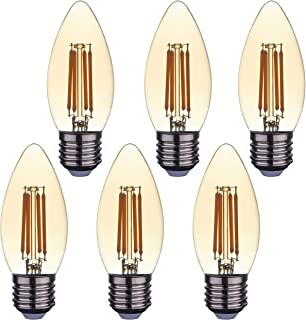 SD LUX Bombillas LED E27 de filamento vintage con bombillas LED, C35, ámbar sin parpadeo, rosca Edison, 4 W (equivalente a 40 W), 450 lm, blanco cálido, 2700 K, 6 paquetes