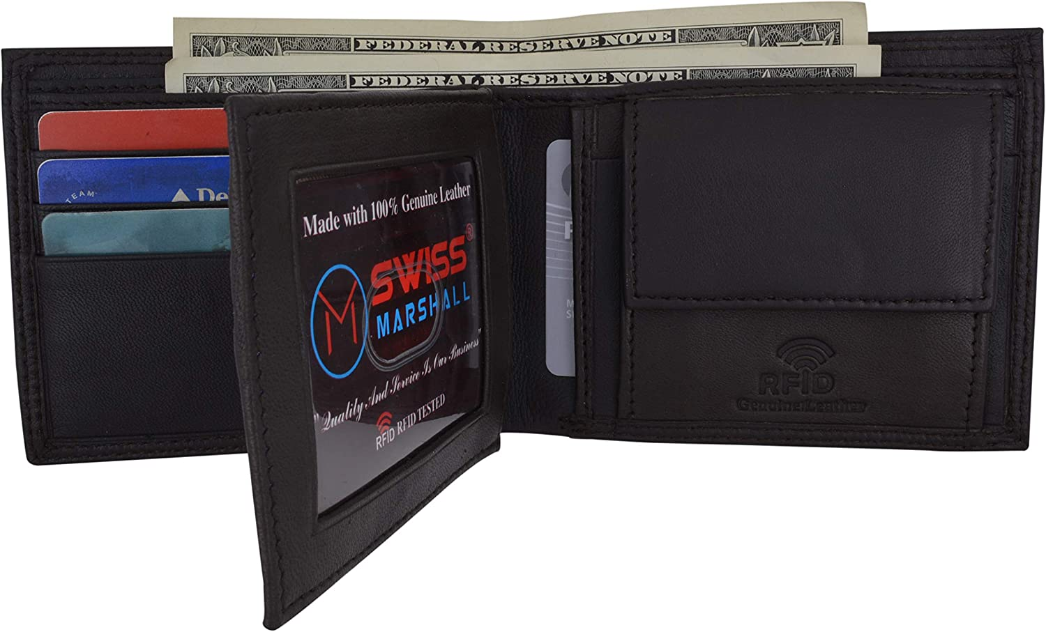 RFID Blocking Men's Bifold Premium Leather Credit Card ID Holder Wallet with Coin Pouch by Swiss Marshall