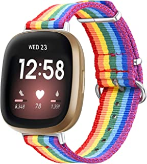 Bandmax Compatible for Series 3 Rainbow Fitbit Versa Bands LGBT Gay Pride Parade Nylon Woven Fitbit Versa Sport Strap Acce...