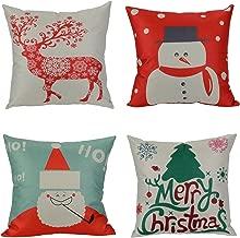 Wonder4 Christmas Decorative Throw Pillow Covers Christmas Decor Pillow Case Christmas Tree,Christmas Deer,Santa Claus, Snowman Merry Christmas Pillow Covers Sofa Cushion Case 18 x 18 Inch Set of 4