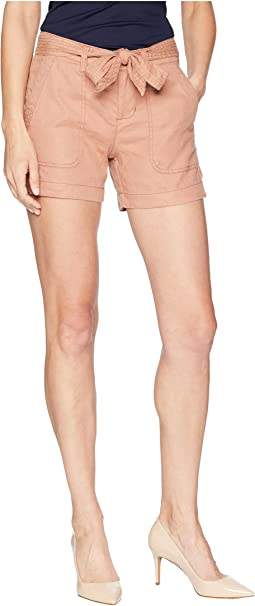 Kinley Shorts with Tie Belt in Soft Stretch Linen in Tuscan Sunset