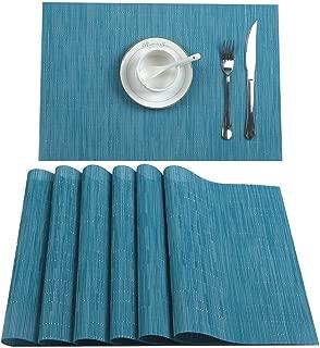 U'Artlines Placemat, Crossweave Woven Vinyl Non-Slip Insulation Placemat Washable Table Mats Set (6pcs placemats, B Blue)